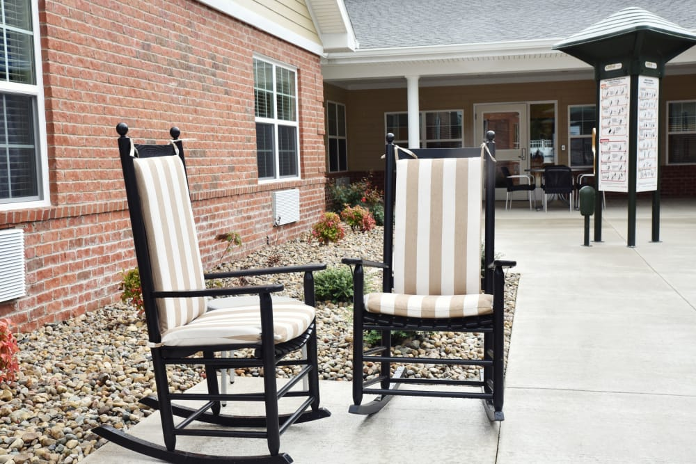 Rocking chairs on the patio at Orchard Pointe Health Campus in Kendallville, Indiana