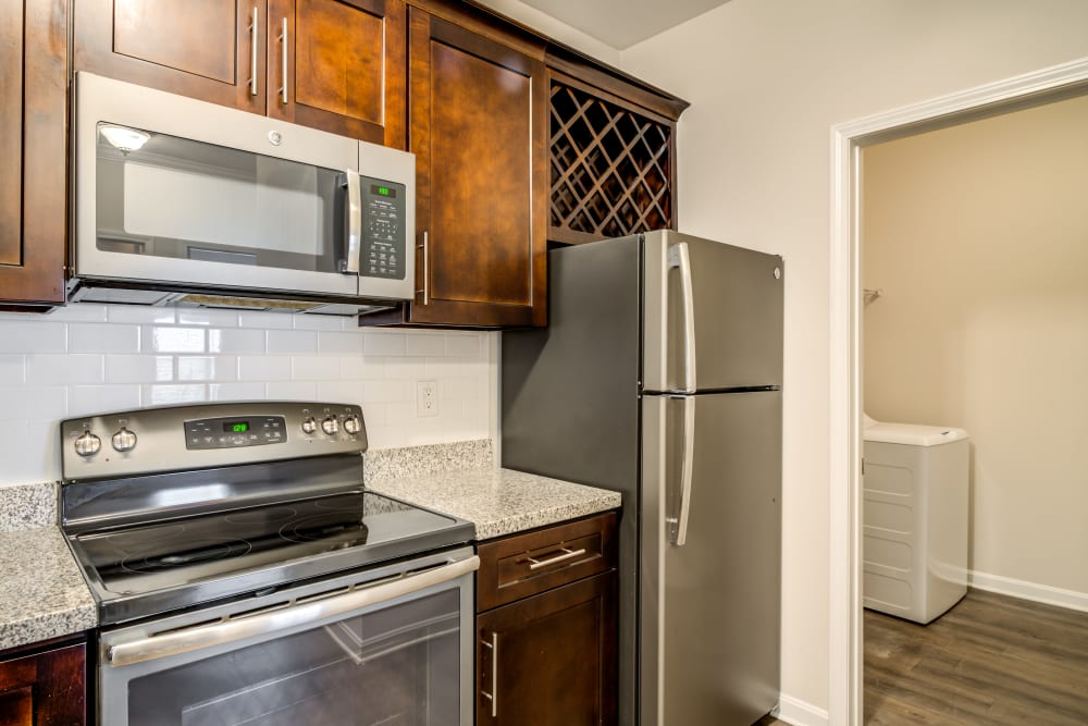Kitchen with stainless steel appliances at Richland Falls