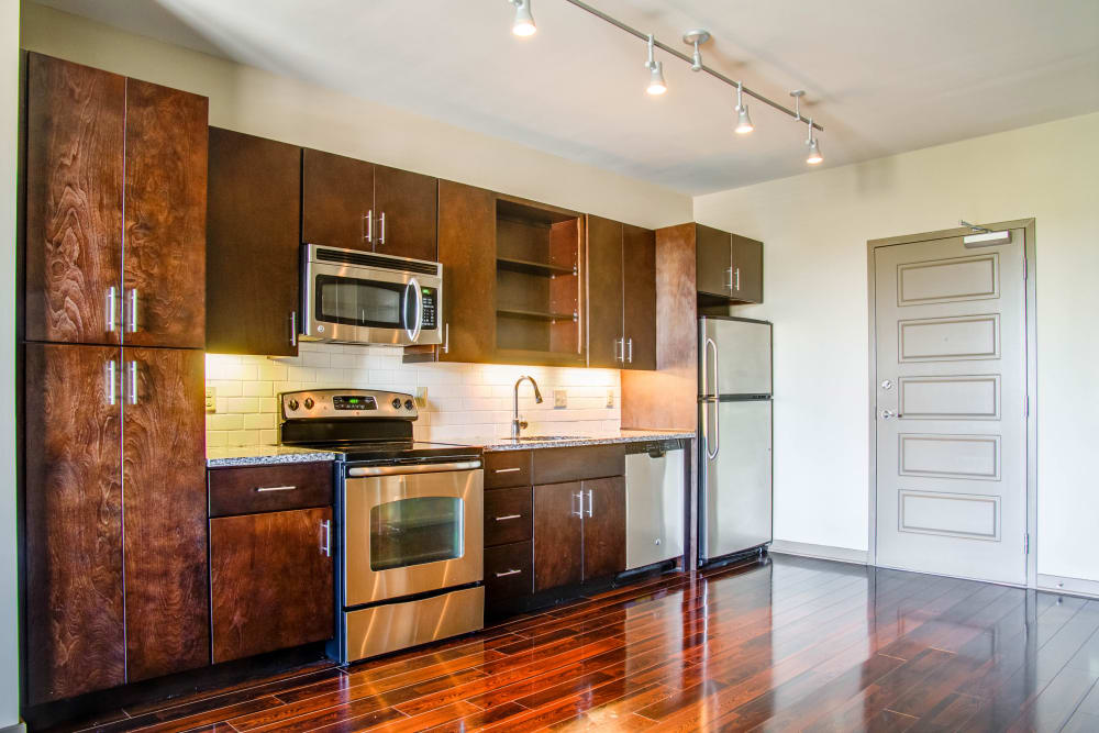 Stainless steel appliances at 12 South Flats in Nashville, Tennessee