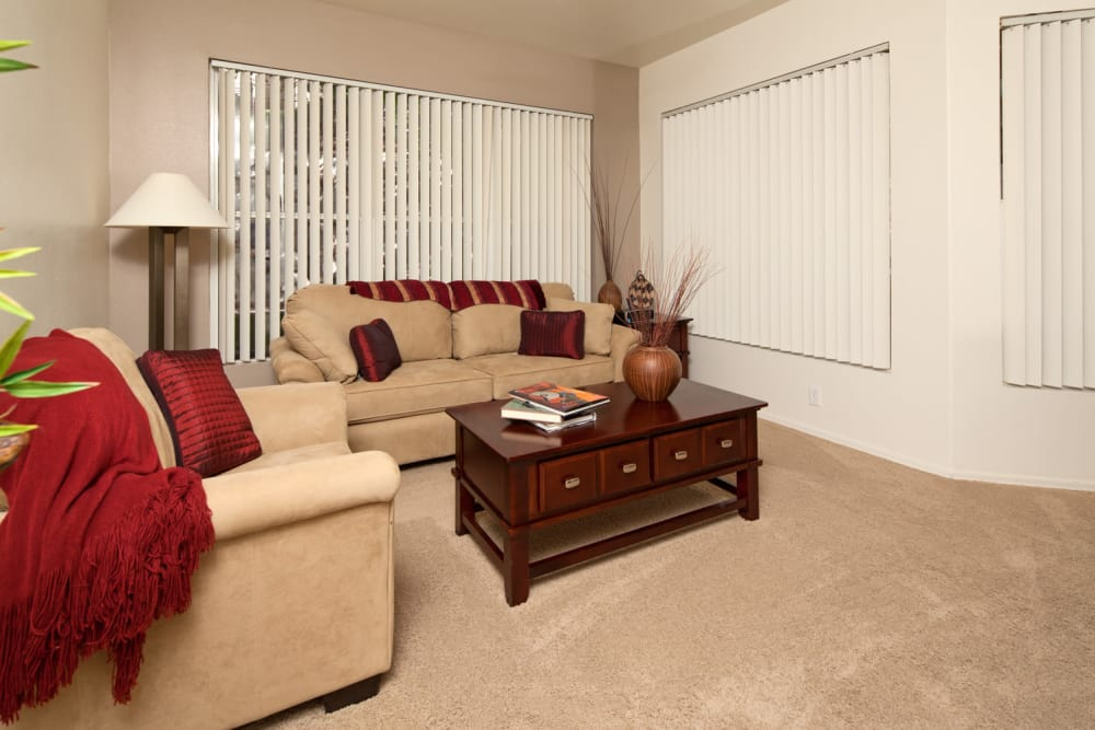 Well-decorated living room in model home at Allegro at La Entrada in Henderson, Nevada