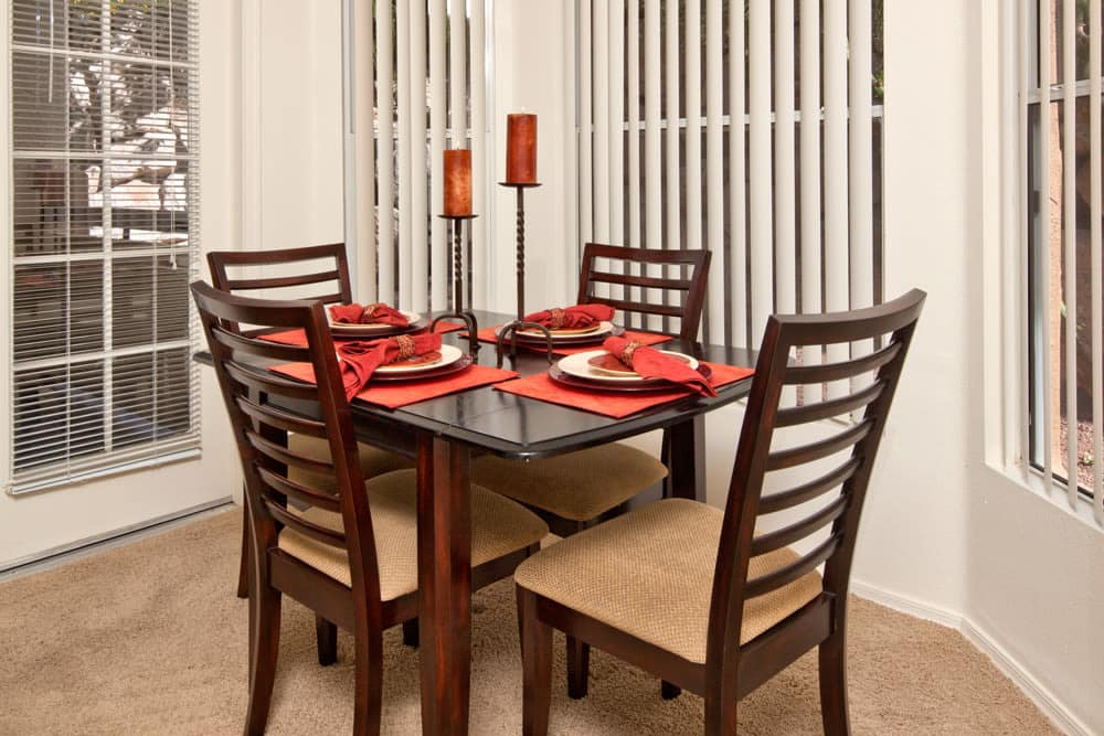 Dining area in model home at Allegro at La Entrada in Henderson, Nevada