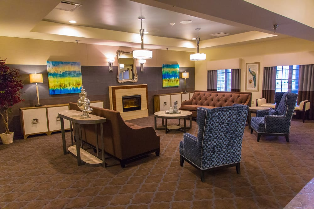 Comfortable lounge with seating for residents at Paddock Springs in Warsaw, Indiana