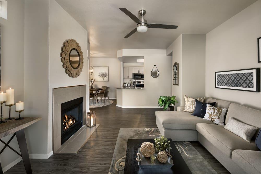 Modern decor in living area of model home at Bellagio in Scottsdale, Arizona