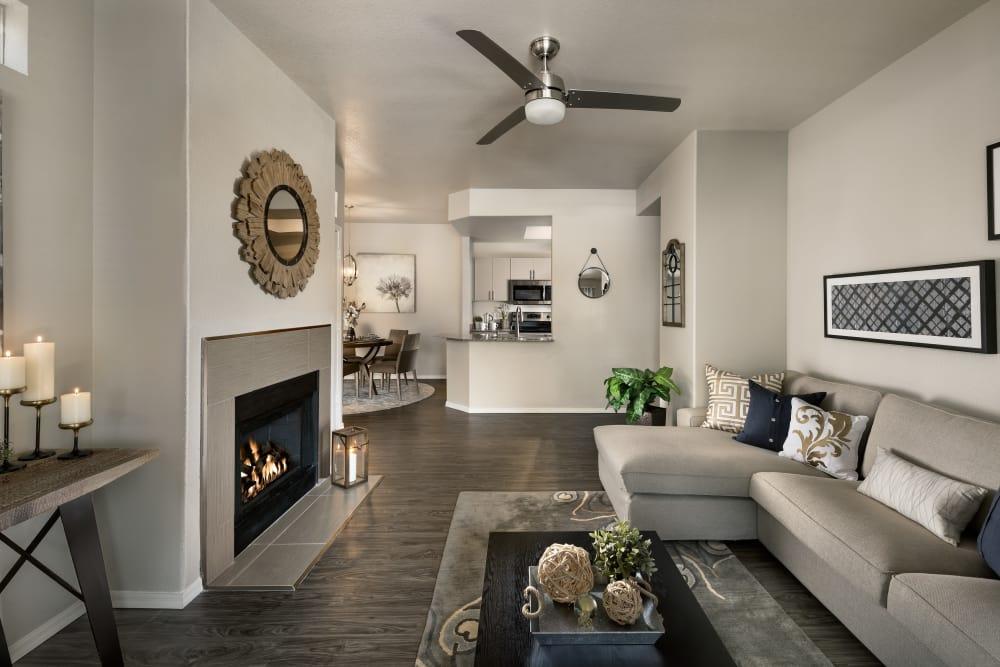 Modern decor in living area of model home at Bellagio in Scottsdale, Arizona
