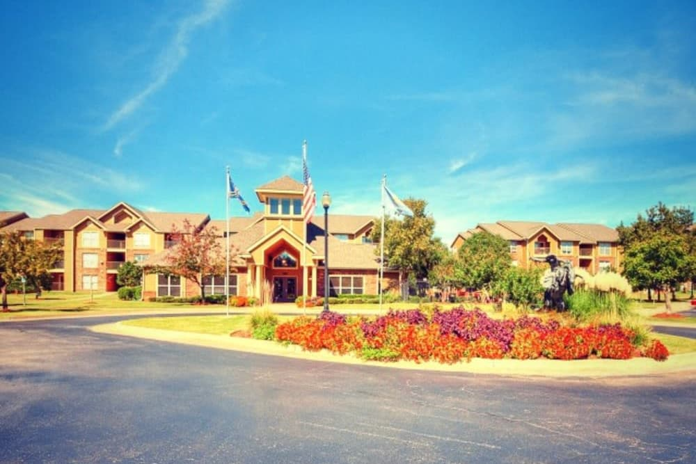 Flowers in front of clubhouse at Pebble Creek in Mustang, Oklahoma
