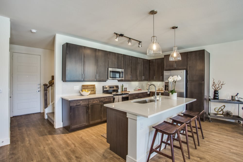 Kitchen layout at The Atwood at Ellison in Dallas, Texas