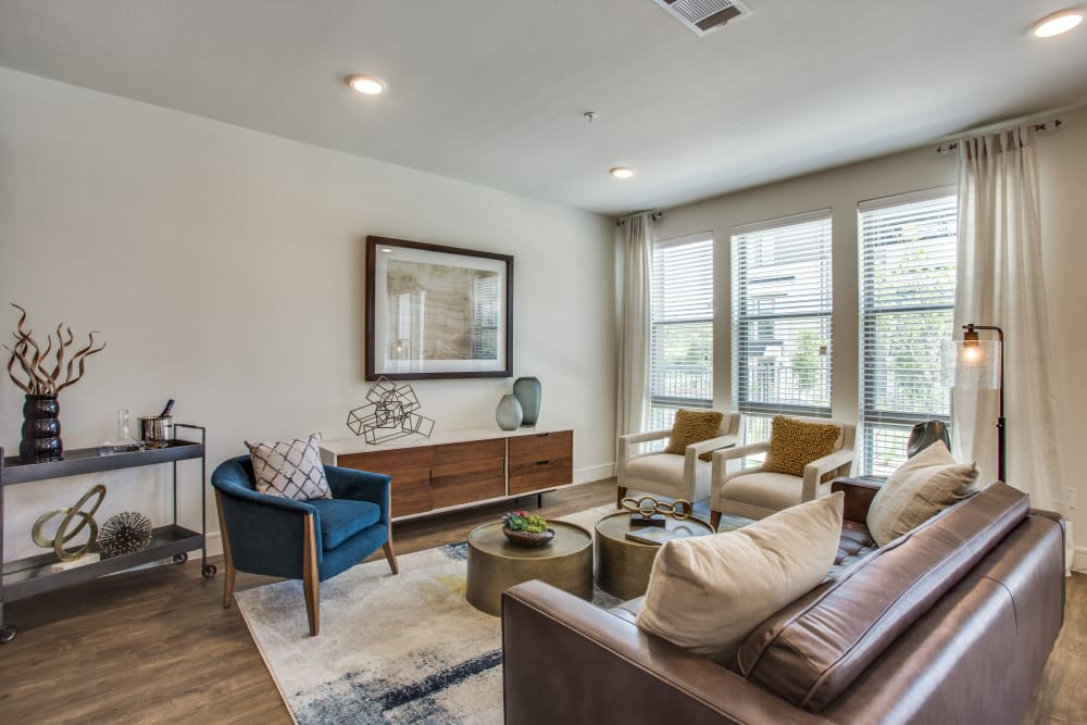 Comfortable living room at The Ellison in Dallas, Texas