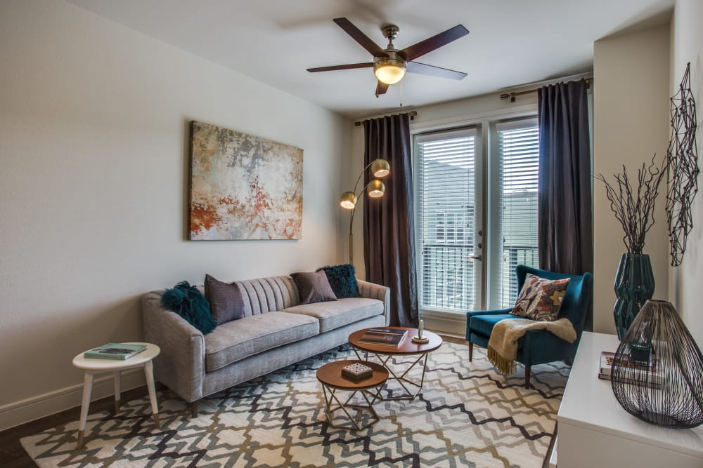 Beautiful living area at The Ellison in Dallas, Texas