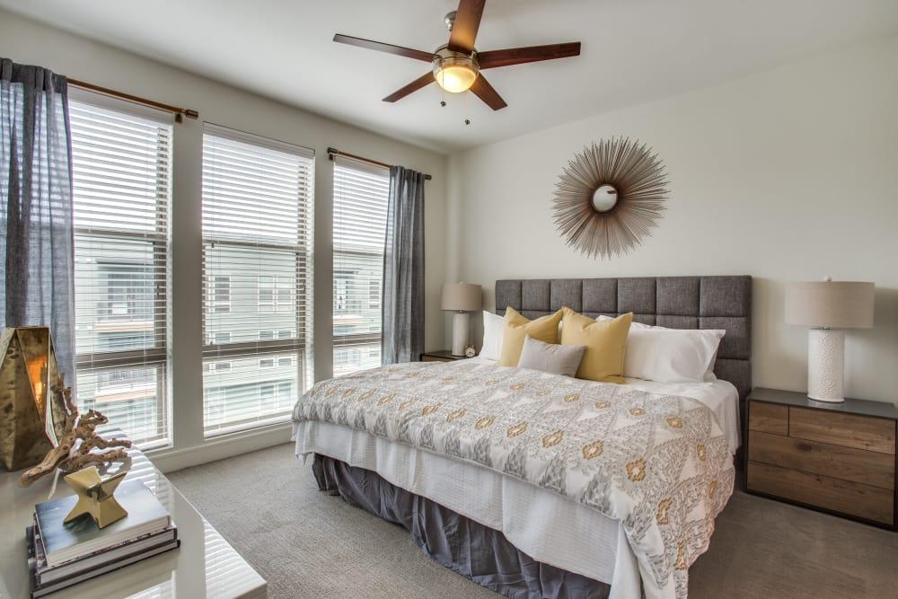 Bright bedroom at The Ellison in Dallas, Texas