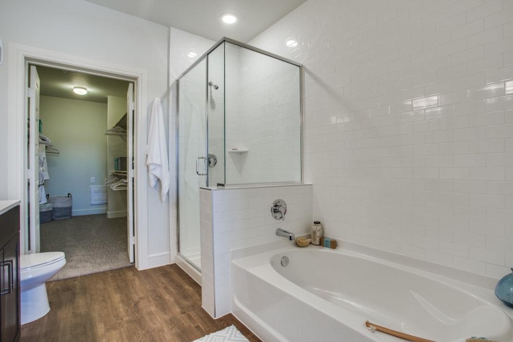 Bathtub and shower at The Ellison in Dallas, Texas
