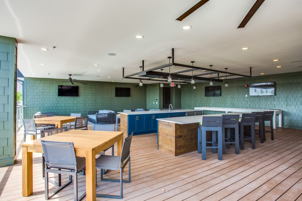 Indoor bar and lounge at The Ellison in Dallas, Texas