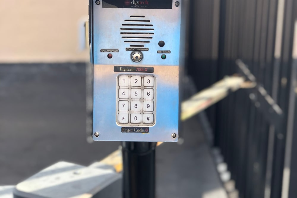 Security keypad at self storage facility in Miami Gardens, FL
