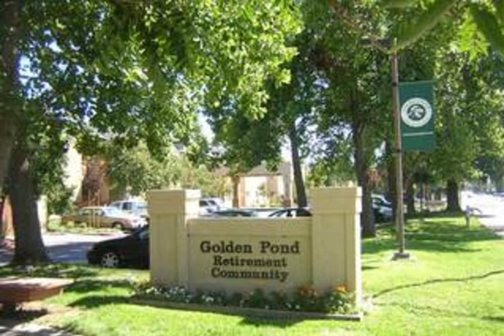 Branded sign for Golden Pond Retirement Community in Sacramento, California