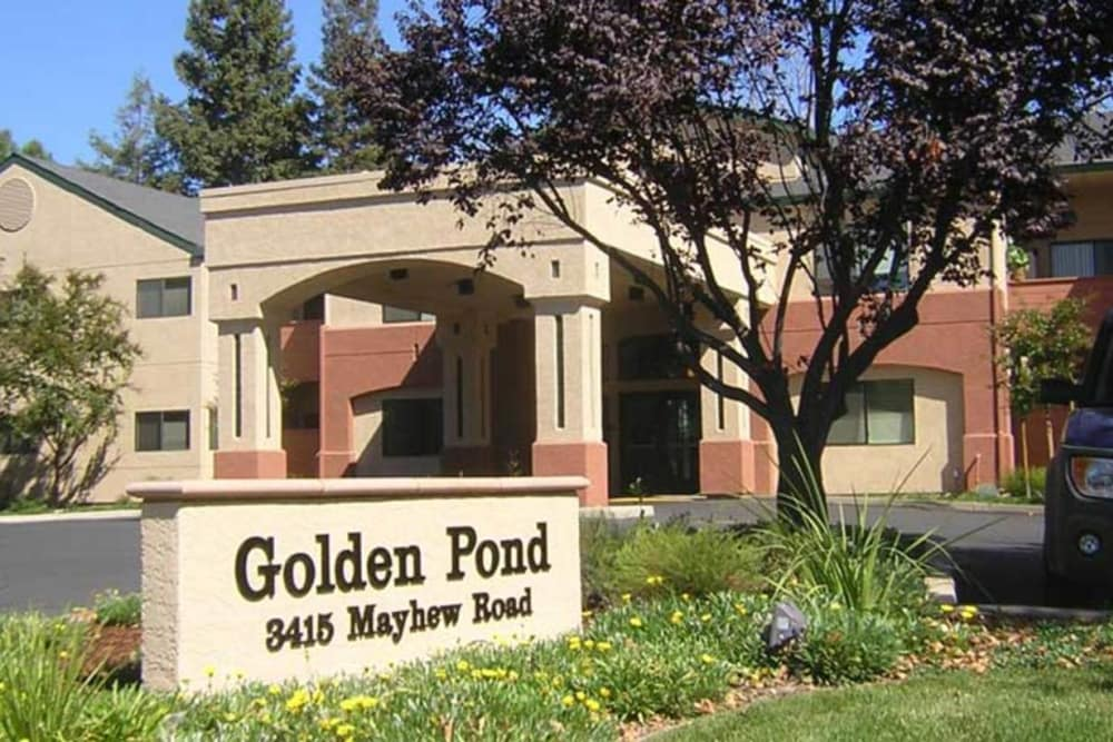 Front entrance and sign to Golden Pond Retirement Community in Sacramento, California