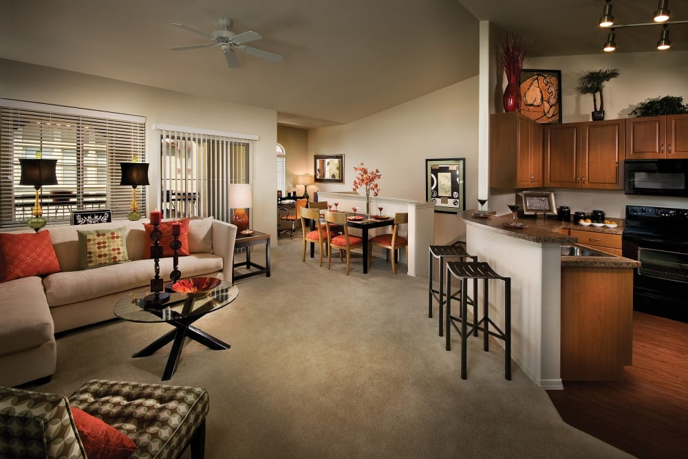 Modern decor in living area of model home at Ravenwood Heights in Tempe, Arizona