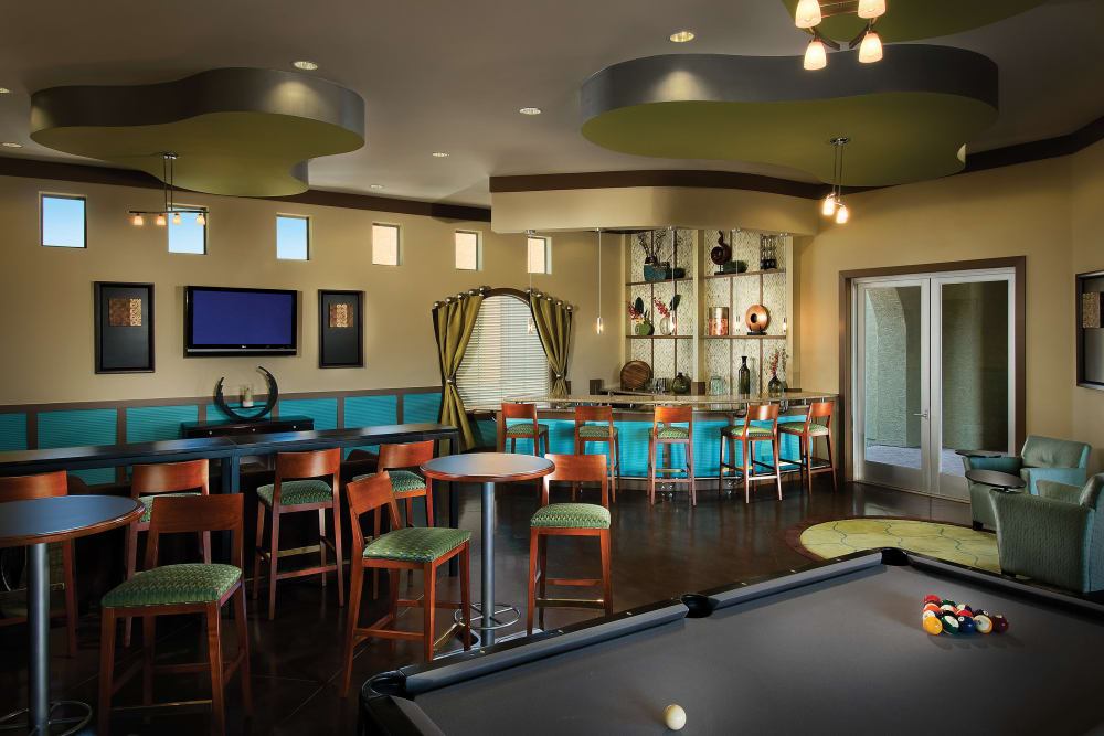 Contemporary decor in the resident clubhouse at Ravenwood Heights in Tempe, Arizona