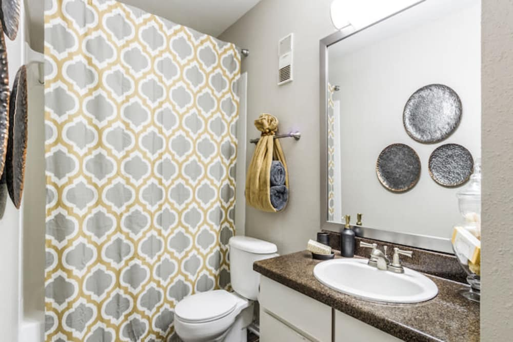 Bright bathroom at 2400 Briarwest in Houston, Texas