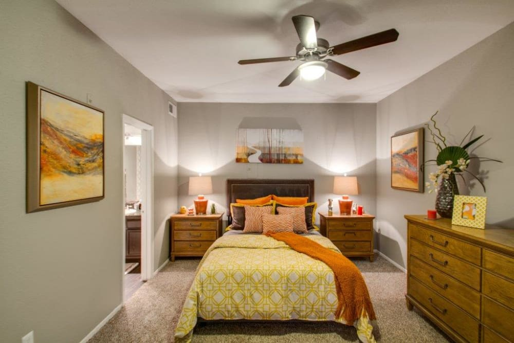 Bright bedroom at Watermarke Apartments in Fort Worth, Texas