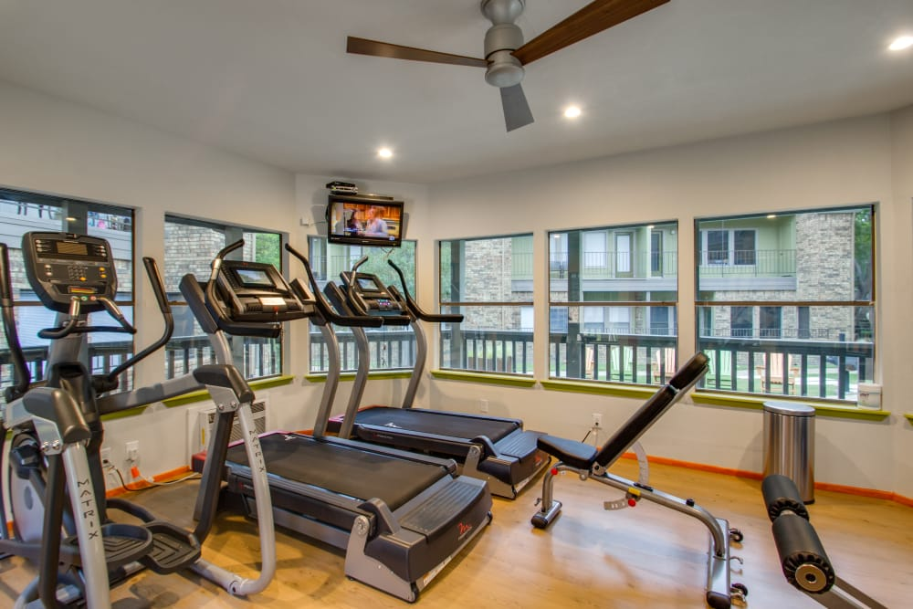 Fitness center for residents at Watermarke Apartments in Fort Worth, Texas