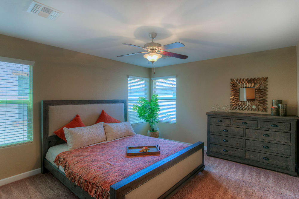 Large master bedroom with ceiling fan and beautiful furnishings in model home at BB Living at Higley Park in Gilbert, Arizona