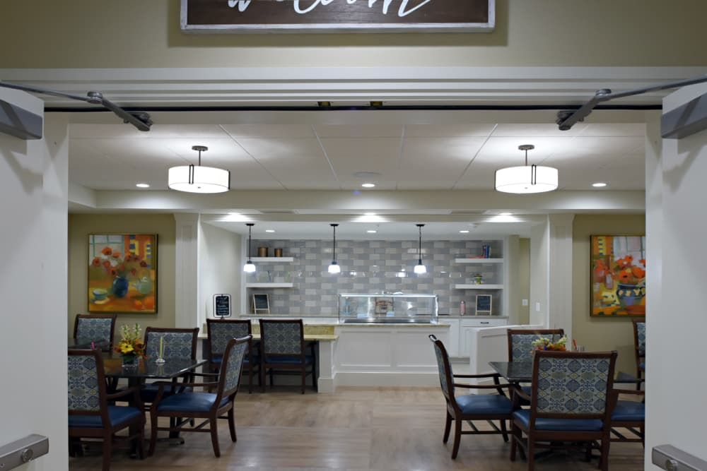 Resident dining area at Symphony at Cherry Hill in Cherry Hill, New Jersey.