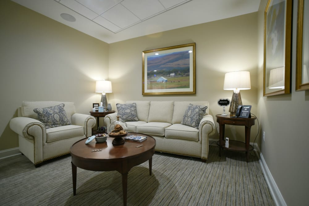 Lounge area at Symphony at Cherry Hill in Cherry Hill, New Jersey.