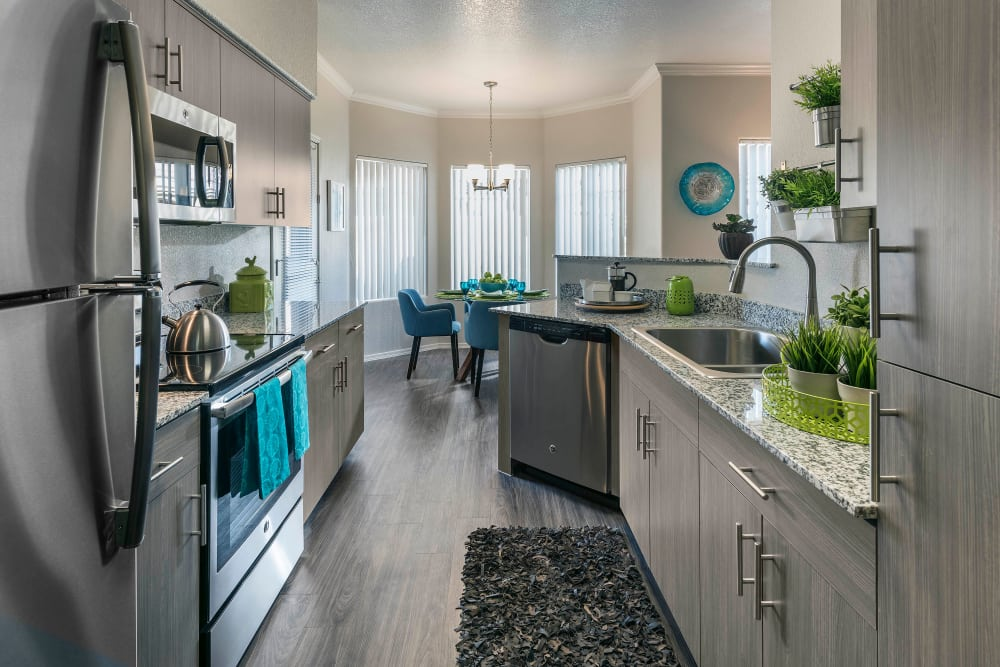 Modern decor in kitchen of model home at Mira Santi in Chandler, Arizona