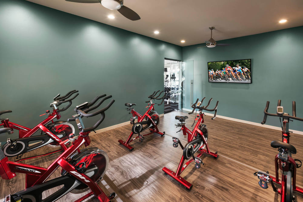 Fitness center with exercise bikes at Mira Santi in Chandler, Arizona