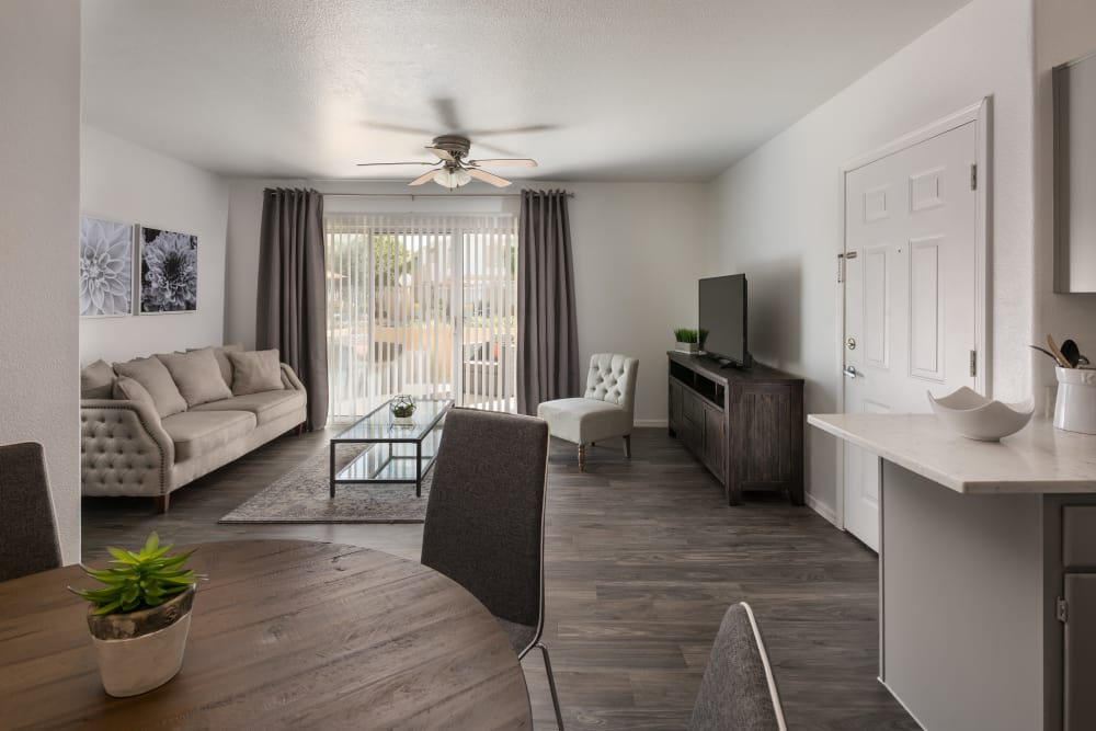 Modern decor in living area of model home at Club Cancun in Chandler, Arizona