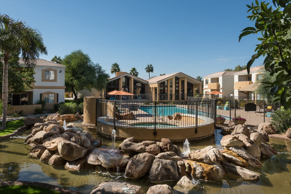 Water feature near the pool at Club Cancun in Chandler, Arizona