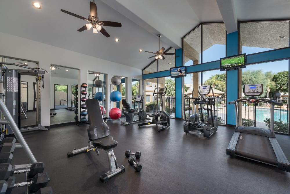 Onsite fitness center at Club Cancun in Chandler, Arizona