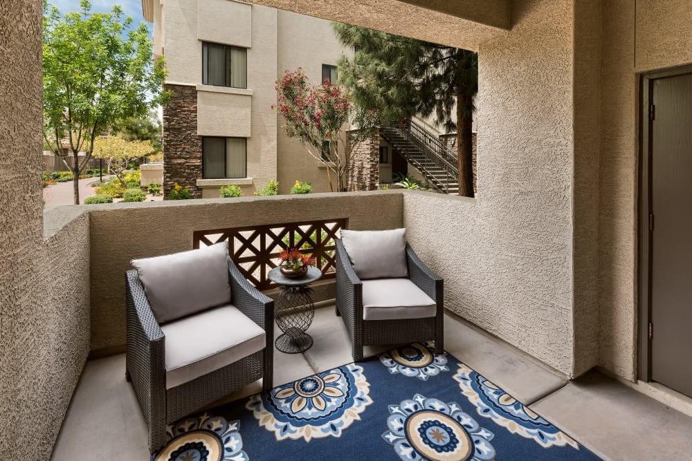 Private apartment balcony at San Hacienda in Chandler, Arizona