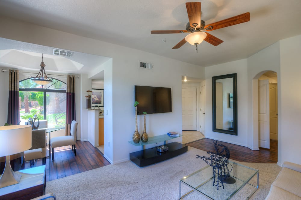 Nine-foot ceilings with ceiling fans in model home at San Lagos in Glendale, Arizona