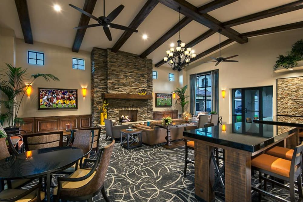 Contemporary decor in resident clubhouse at San Privada in Gilbert, Arizona
