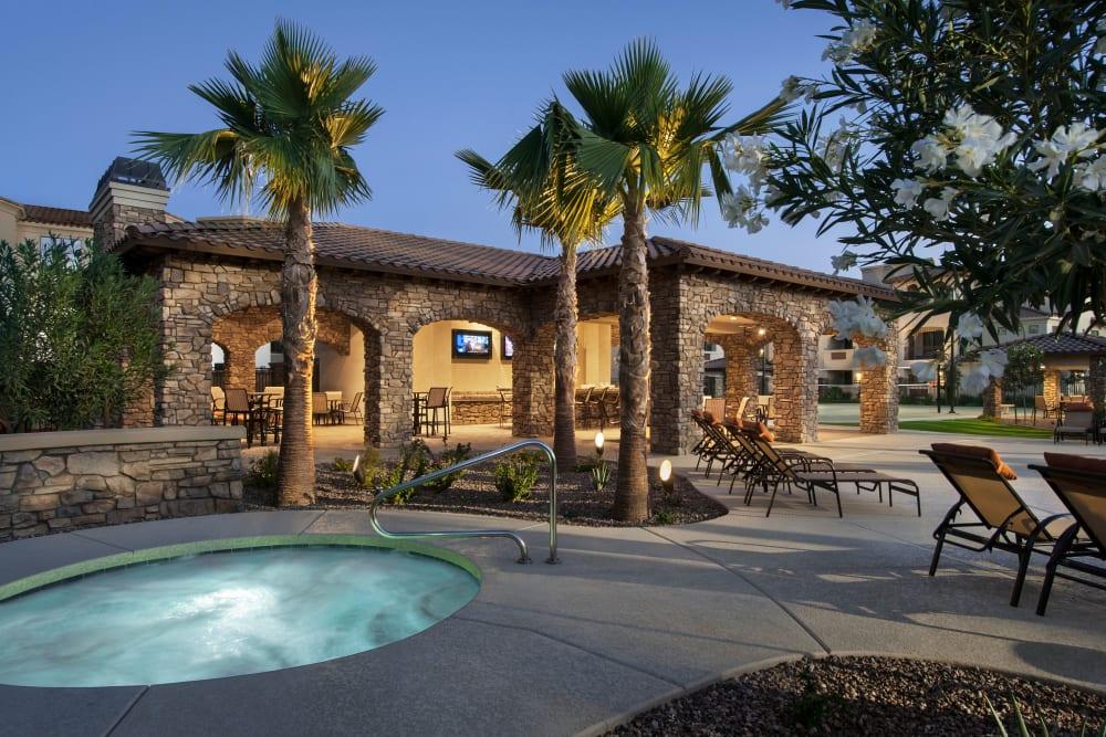 Luxury hot tub at San Privada in Gilbert, Arizona