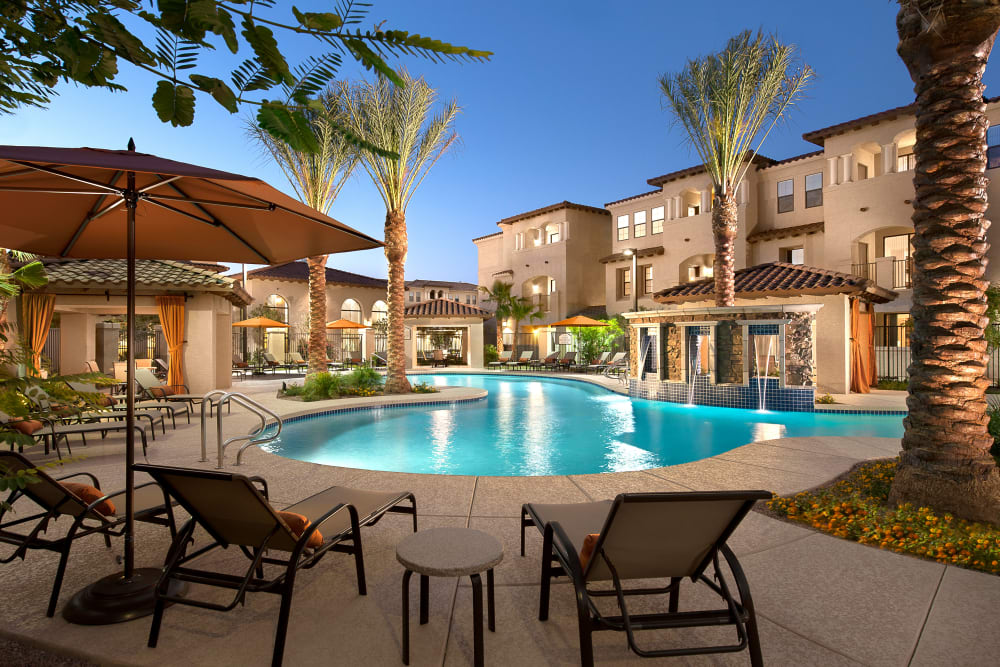 Resort-style swimming pool at San Marquis in Tempe, Arizona