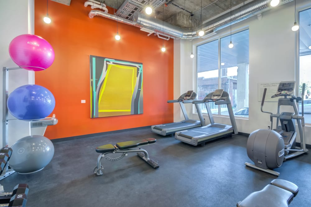 Gym and exercise equipment at Nelson Kohl Apartments in Baltimore, Maryland