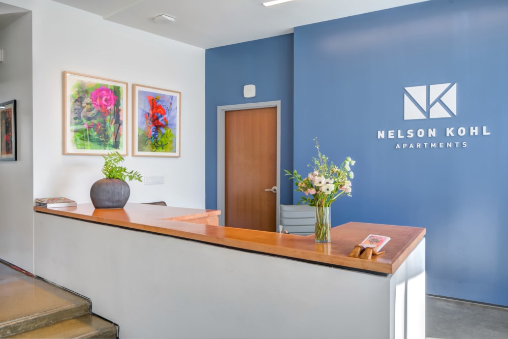 Front desk of Nelson Kohl Apartments in Baltimore, Maryland