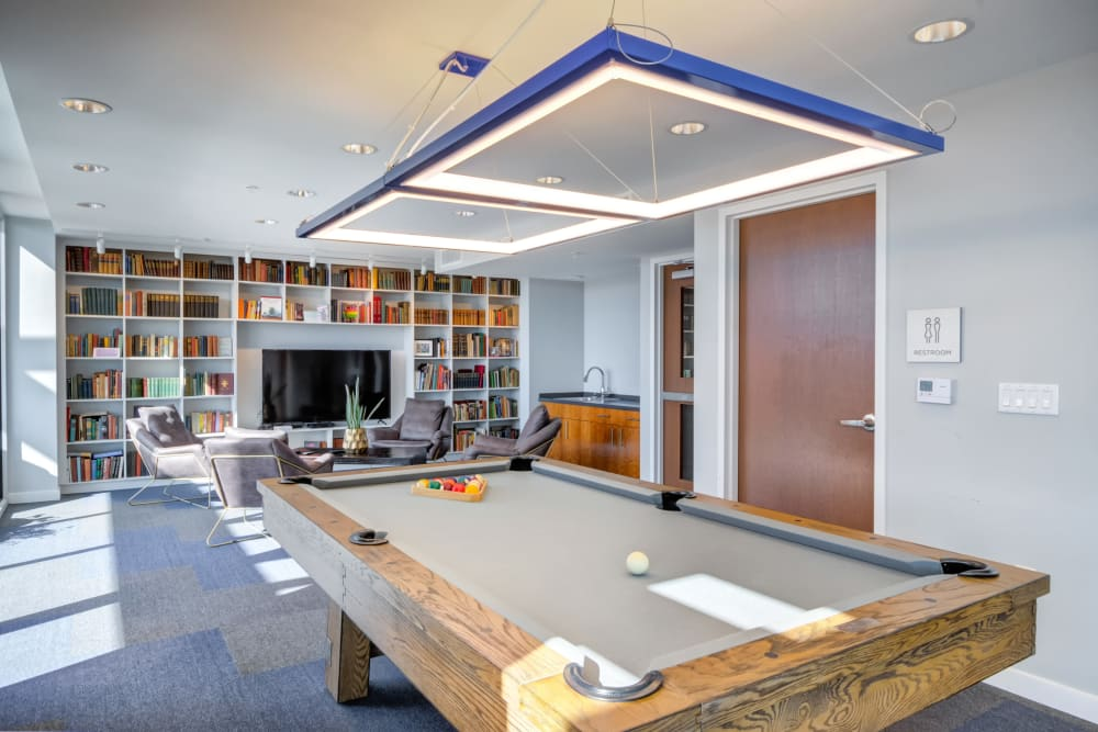 Billiards in a community clubhouse at Nelson Kohl Apartments in Baltimore, Maryland