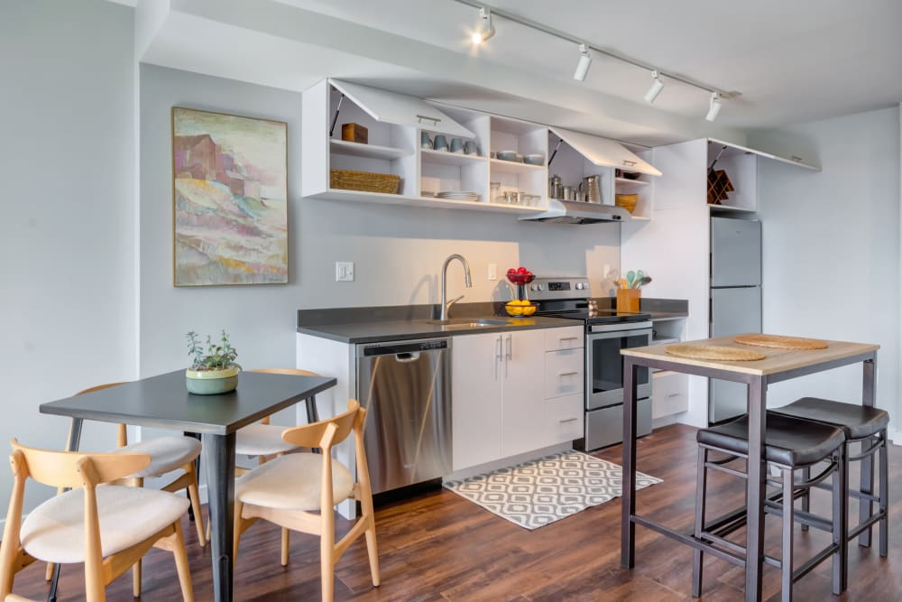 Modern looking kitchen space at Nelson Kohl Apartments in Baltimore, Maryland