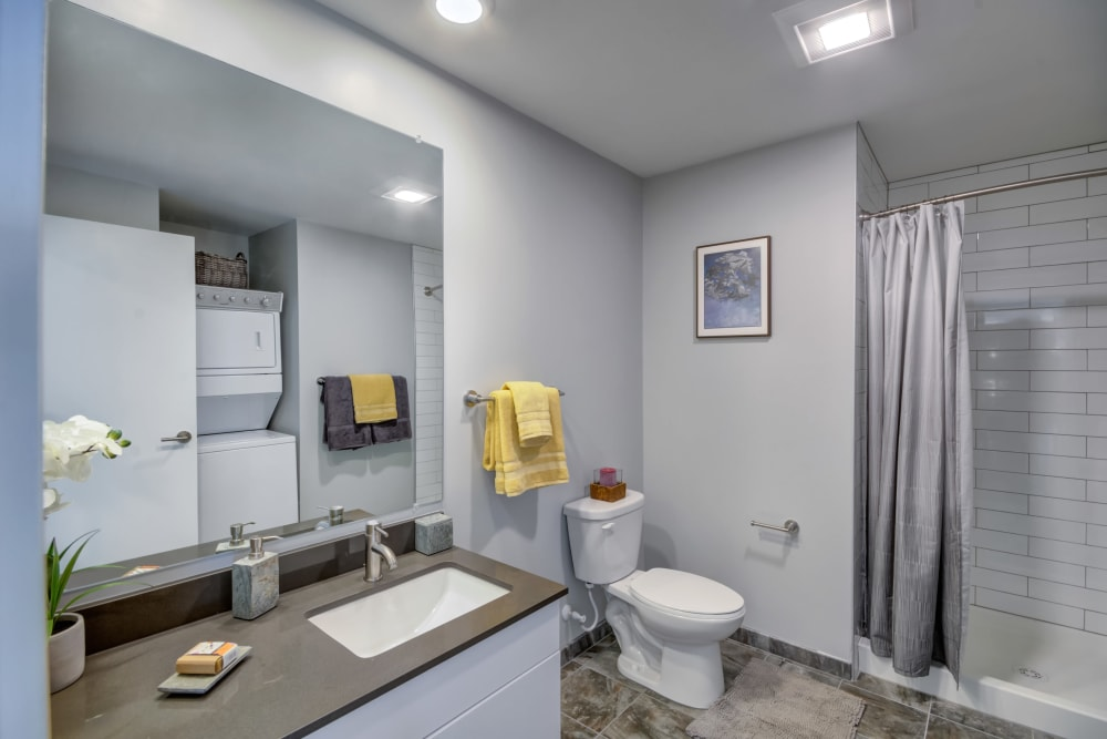 Modern looking bathroom at Nelson Kohl Apartments in Baltimore, Maryland