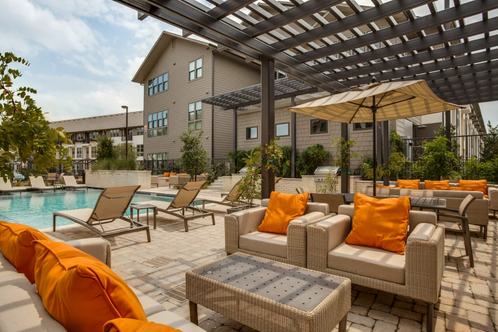 Poolside lounge at Atwood at Ellison in Dallas, Texas