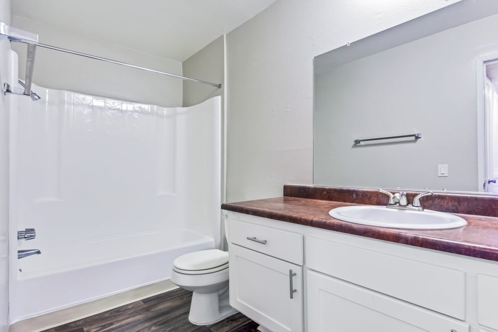 Bathroom at West Fifth Apartments in Ontario, California