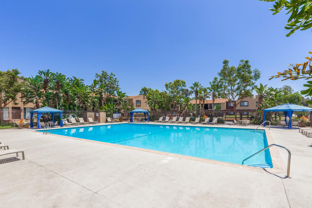 Large swimming pool at West Fifth Apartments in Ontario, California