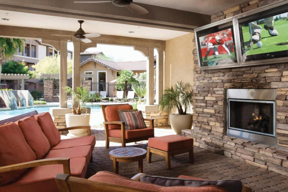 Poolside cabana with comfortable seating at Borrego at Spectrum in Gilbert, Arizona
