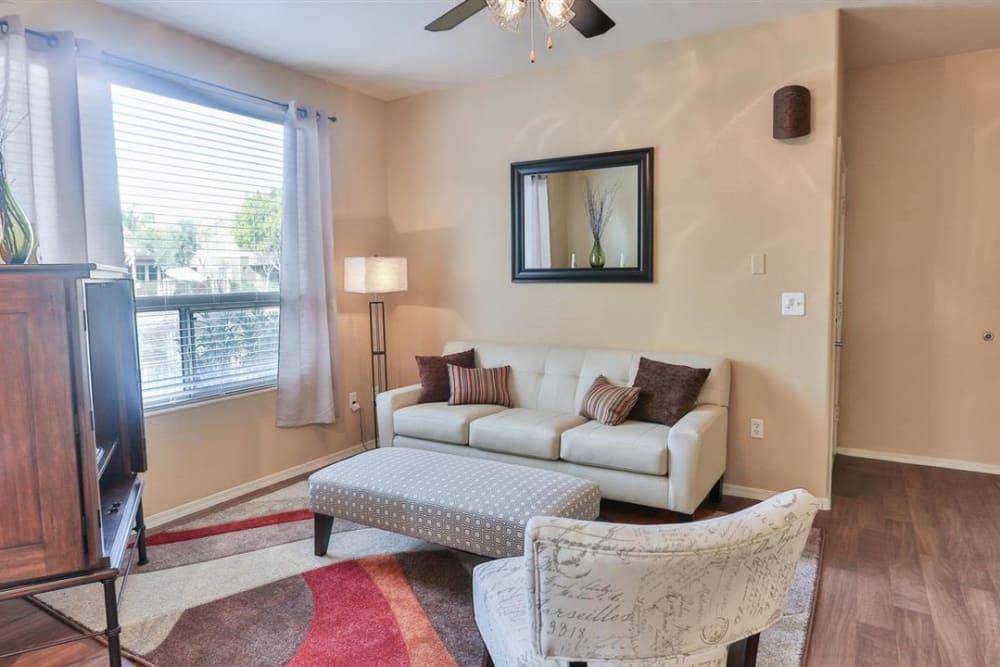 Modern decor in living area of model home at Laguna at Arrowhead Ranch in Glendale, Arizona