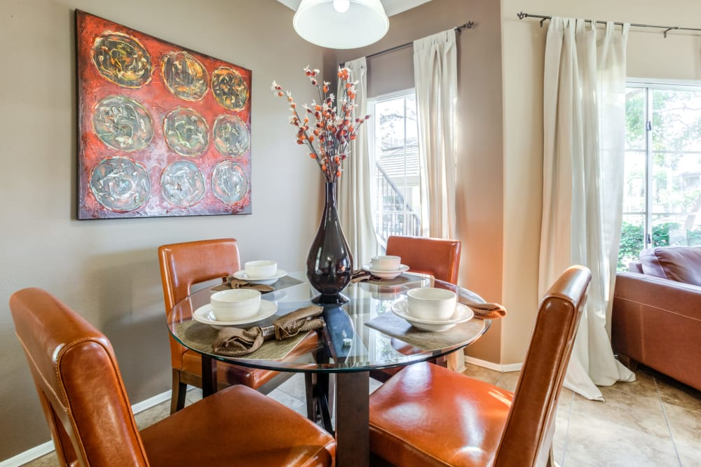 Well-decorated dining area in a model home at Finisterra in Tempe, Arizona