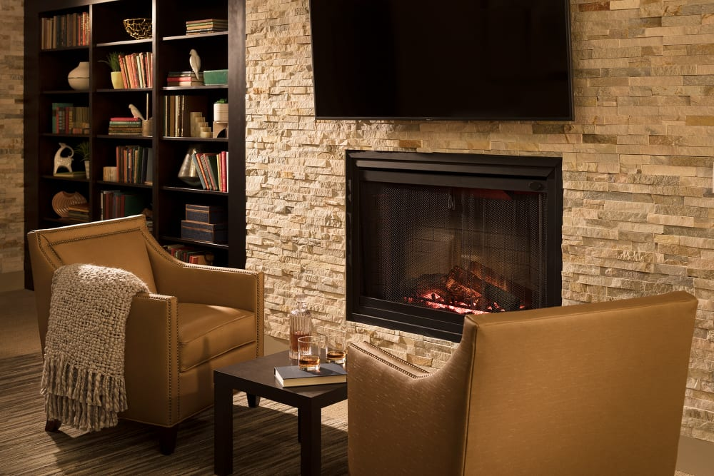 Fireplace at Sage Mountain senior living