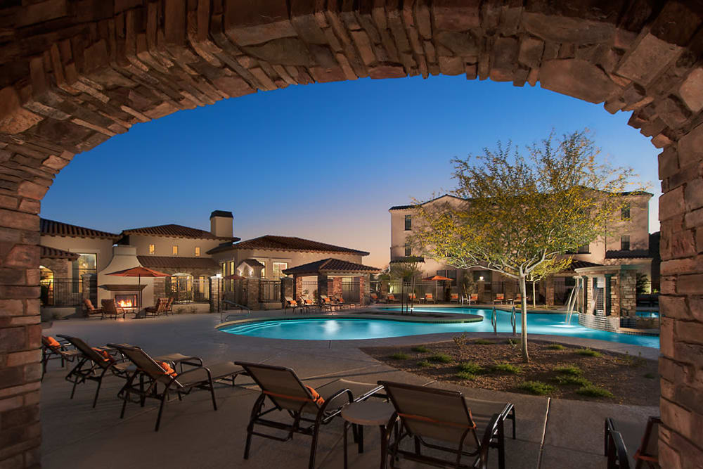 Beautiful swimming pool at dusk at San Norterra in Phoenix, Arizona