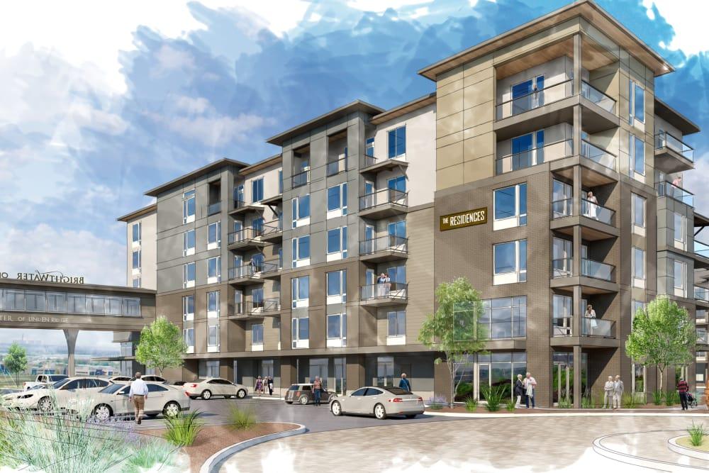 Parking lot rendering at Brightwater Senior Living of Linden Ridge in Winnipeg, Manitoba